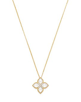 Roberto Coin - 18K Yellow Gold Venetian Princess Mother-Of-Pearl & Diamond Pendant Necklace, 16""