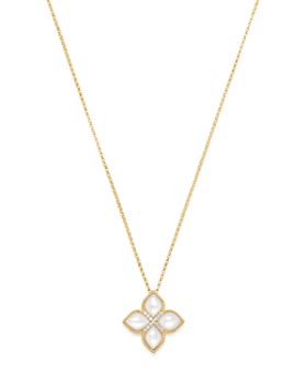 Roberto Coin - 18K Yellow Gold Venetian Princess Diamond & Mother-Of-Pearl Necklace, 16""