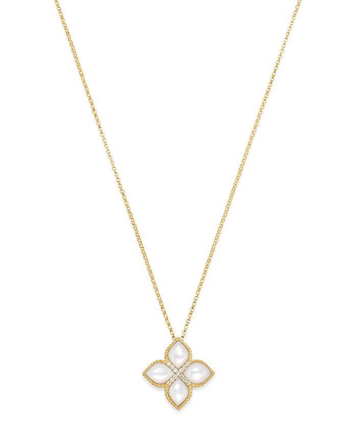 "Roberto Coin - 18K Yellow Gold Venetian Princess Mother-Of-Pearl & Diamond Pendant Necklace, 16"""
