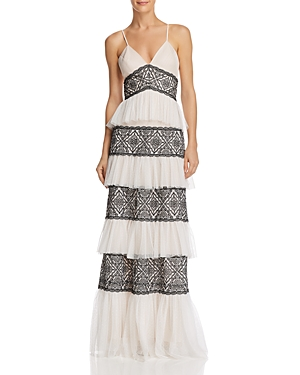 Bcbgmaxazria Tiered Lace Gown
