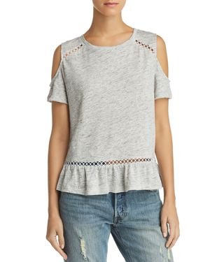 GENERATION LOVE Kendi Lace-Inset Cold-Shoulder Tee - 100% Exclusive in White