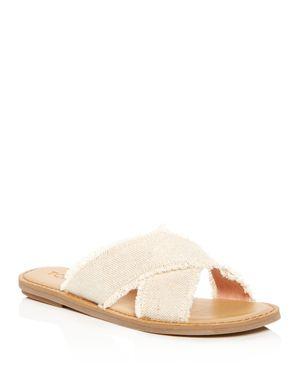 Women'S Viv Metallic Jute Fringe Crisscross Slide Sandals, Natural Metallic Jute