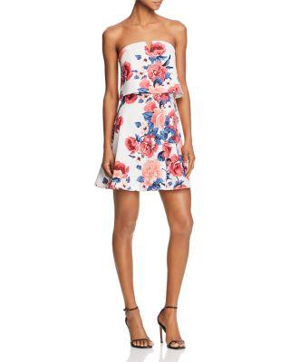 $AQUA Floral Print Strapless Dress - 100% Exclusive - Bloomingdale's