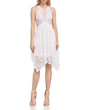 Meilani Color-Block Lace Dress, White Combo