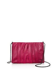 HALSTON HERITAGE - Grace Ruched Leather Clutch