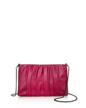 Halston Heritage Grace Ruched Leather Clutch 2951226