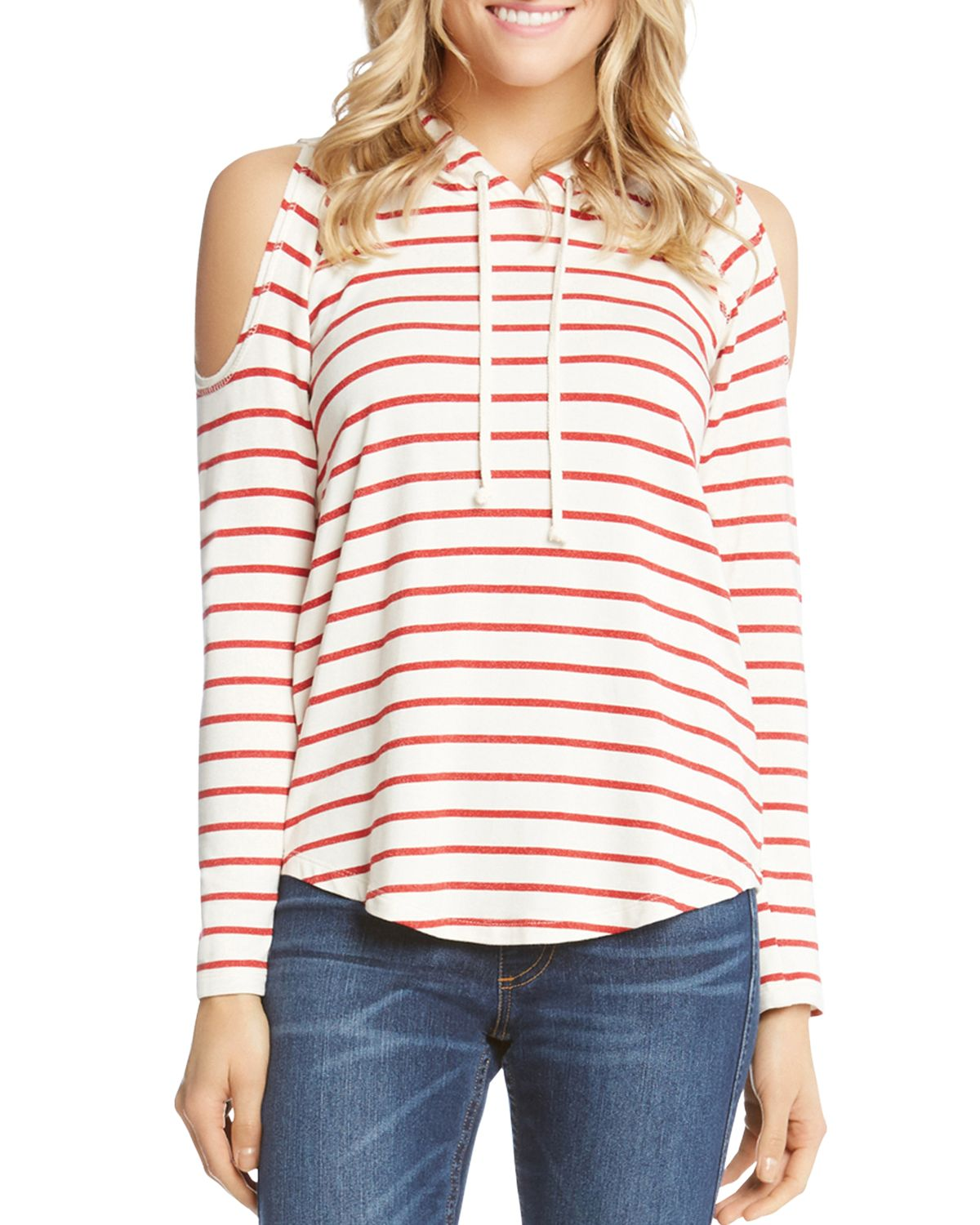 Striped Cold Shoulder Hoodie by Karen Kane