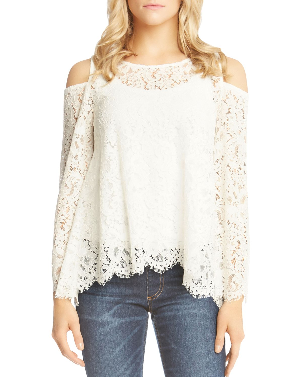 Cold Shoulder Lace Top by Karen Kane