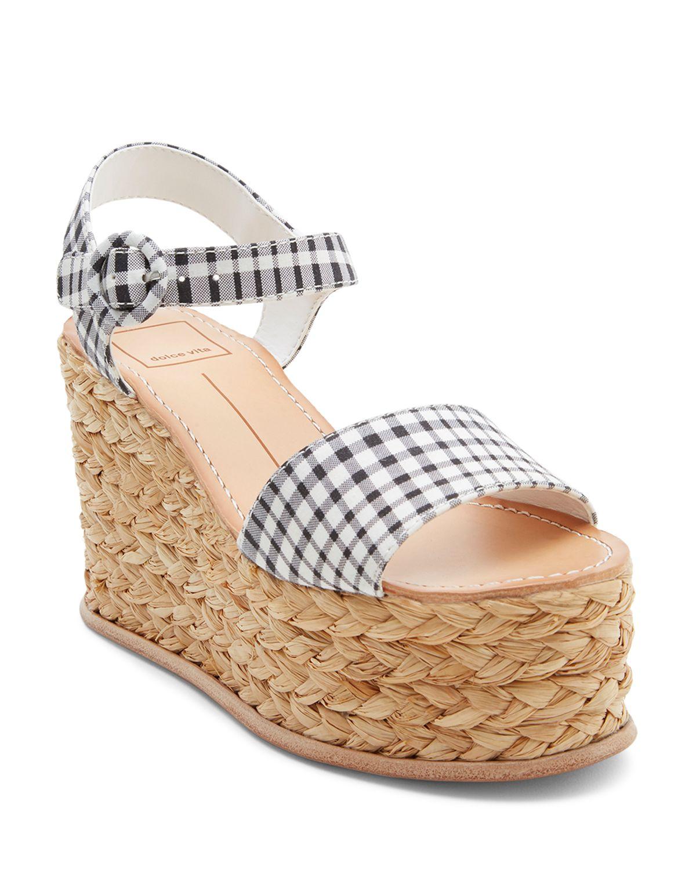 Dolce Vita Dane Leather Platform Espadrille Wedge Sandals
