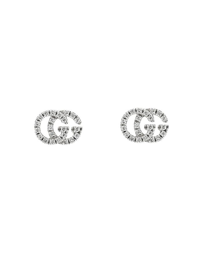 b18c275a130 Gucci - 18K White Gold GG Running Diamond Stud Earrings