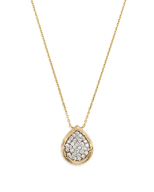 Bloomingdale's Pave Diamond Teardrop Pendant Necklace in Textured 14K Yellow Gold, 0.50 ct. t.w. - 1