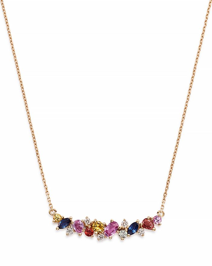 Bloomingdale's - Multicolor Sapphire & Diamond Cluster Curve Pendant Necklace in 14K Rose Gold - 100% Exclusive