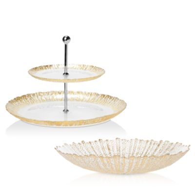 Rufolo Glass Gold Large Serving Bowl