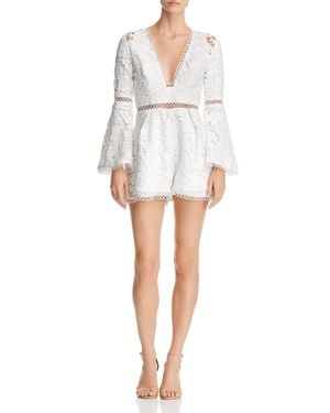 SAU LEE Sydney Lace Romper in White