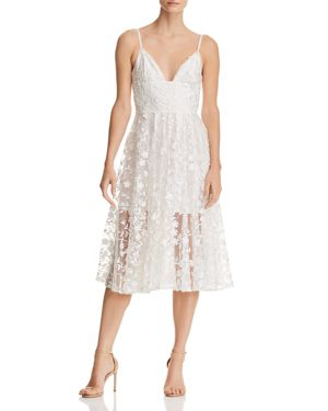 SAU LEE Daisy Illusion Midi Dress in White