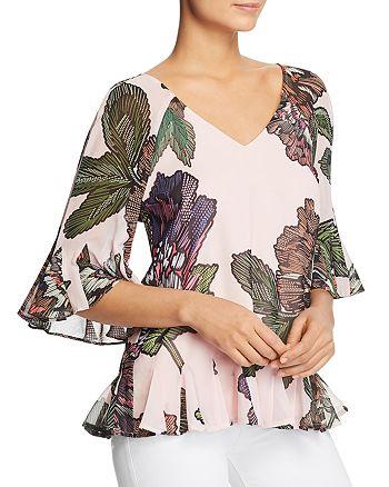 Badgley Mischka - Floral Tie-Back Flutter Top