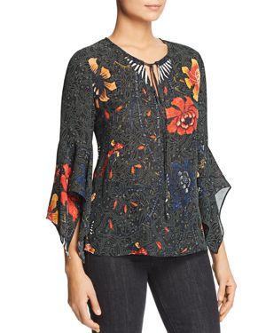 Kobi Halperin Rubie Bell-Sleeve Printed Silk Blouse
