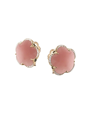 Pasquale Bruni 18K Rose Gold Bon Ton Dark Pink Chalcedony & Diamond Floral Earrings