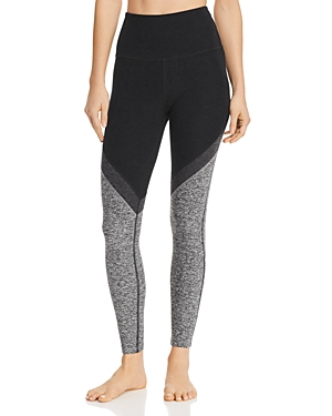 7ef84855e013e BEYOND YOGA TRI-PANEL SPACE-DYE HIGH-WAIST MIDI LEGGING, DARKEST NIGHT