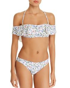 Shoshanna - Botanical Garden Flounce Bandeau Bikini Top