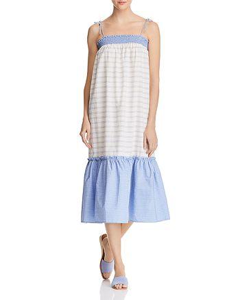 AQUA - Striped Poplin Midi Dress - 100% Exclusive