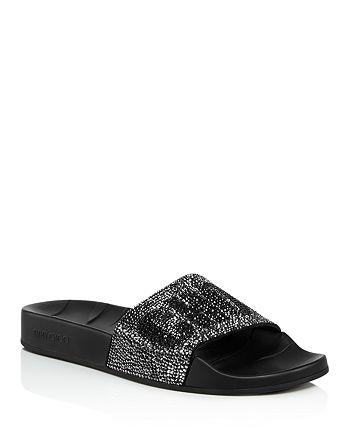 4dcac7212d8f Jimmy Choo Women s Rey Crystal Embellished Logo Slide Sandals ...