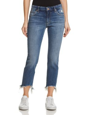 Smith Cropped Chewed Hem Straight-Leg Jeans, Skyler