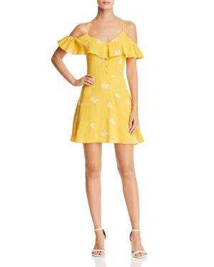 SADIE & SAGE EMBROIDERED COLD-SHOULDER DRESS