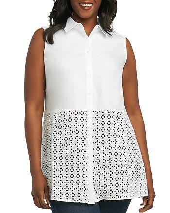 Foxcroft Plus - Shelly Eyelet-Trimmed Shirt