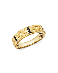 Bloomingdale's - Men's Black Diamond Ring in Satin-Finish 14K Yellow Gold, 0.20 ct. t.w. - 100% Exclusive