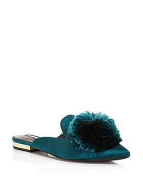 Charles David - Women's Wella Satin Pom-Pom Pointed Toe Mules
