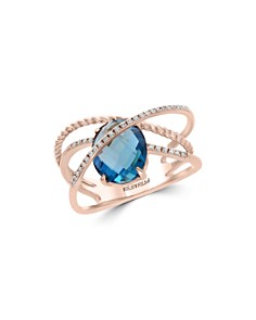 Bloomingdale's Blue Topaz & Diamond Crossover Statement Ring in 14K Rose Gold - 100% Exclusive _0