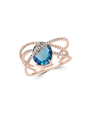 Bloomingdale's Blue Topaz & Diamond Crossover Statement Ring in 14K Rose Gold - 100% Exclusive