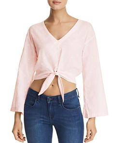 Bella Dahl - Bell Sleeve Tie-Front Cropped Top
