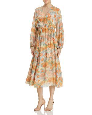 Norma Floral Print Silk Dress, Multi