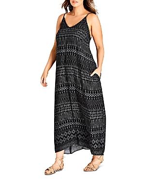 City Chic Plus Tribal-Print Maxi Dress