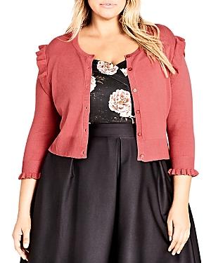 City Chic Plus Frill Ride Cropped Cardigan