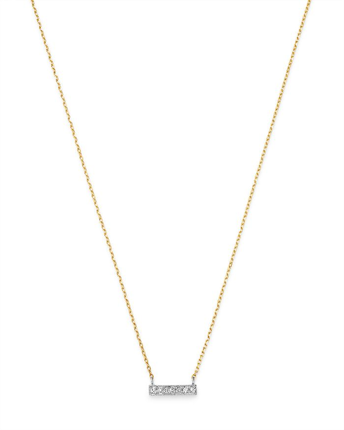Moon & Meadow - Diamond Bar Pendant Necklace in 14K White & Yellow Gold, 0.02 ct. t.w. - 100% Exclusive