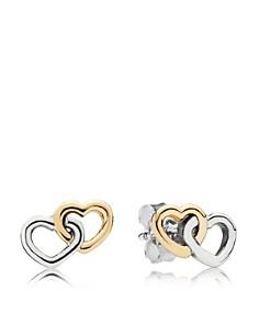 PANDORA 14K Gold & Sterling Silver Heart to Heart Stud Earrings - Bloomingdale's_0