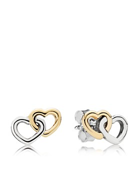 Pandora 14k Gold Sterling Silver Heart To Stud Earrings