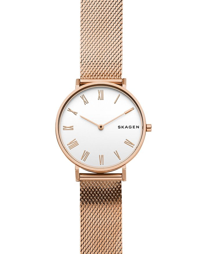 Skagen HALD ROSE GOLD-TONE SILK-MESH WATCH, 34MM