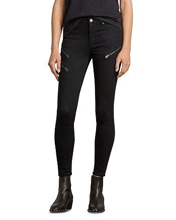 ALLSAINTS - Grace Zip Detail Ankle Skinny Jeans in Black