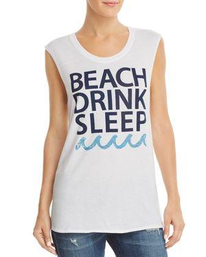 CHASER Beach Drink Sleep Slogan Muscle Tee in White