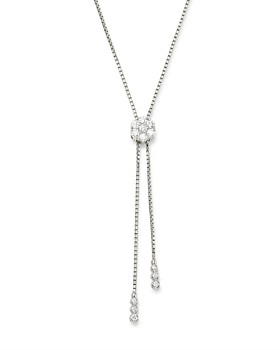 Bloomingdale's - Diamond Flower Bolo Necklace in 14K White Gold, 1.50 ct. t.w. - 100% Exclusive