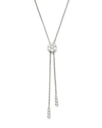 Bloomingdale's - Diamond Flower Bolo Necklace in 14K White Gold, 0.85 ct. t.w. - 100% Exclusive