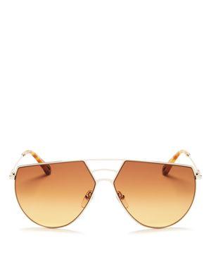 Women'S Ricky Triple Bridge Gradient Aviator Sunglasses, 62Mm in Gold/Brown