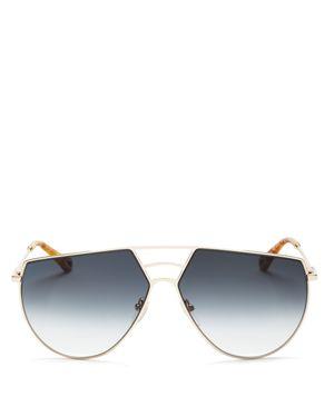 Women'S Ricky Triple Bridge Gradient Aviator Sunglasses, 62Mm, Gold/Blue