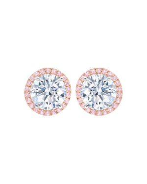 CRISLU Fiore Halo Stud Earrings in Silver/Pink