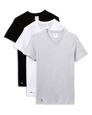 LACOSTE 3-Pack Slim Fit Crewneck T-Shirts in Black/ Grey/ White