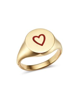 SUEL 14K YELLOW GOLD HEART PINKY SIGNET RING